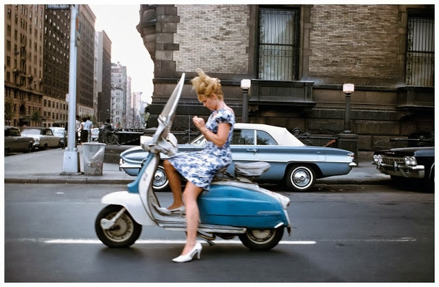 a_girl_on_a_scooter_new_york_city_1965_photograph_by_joel_me