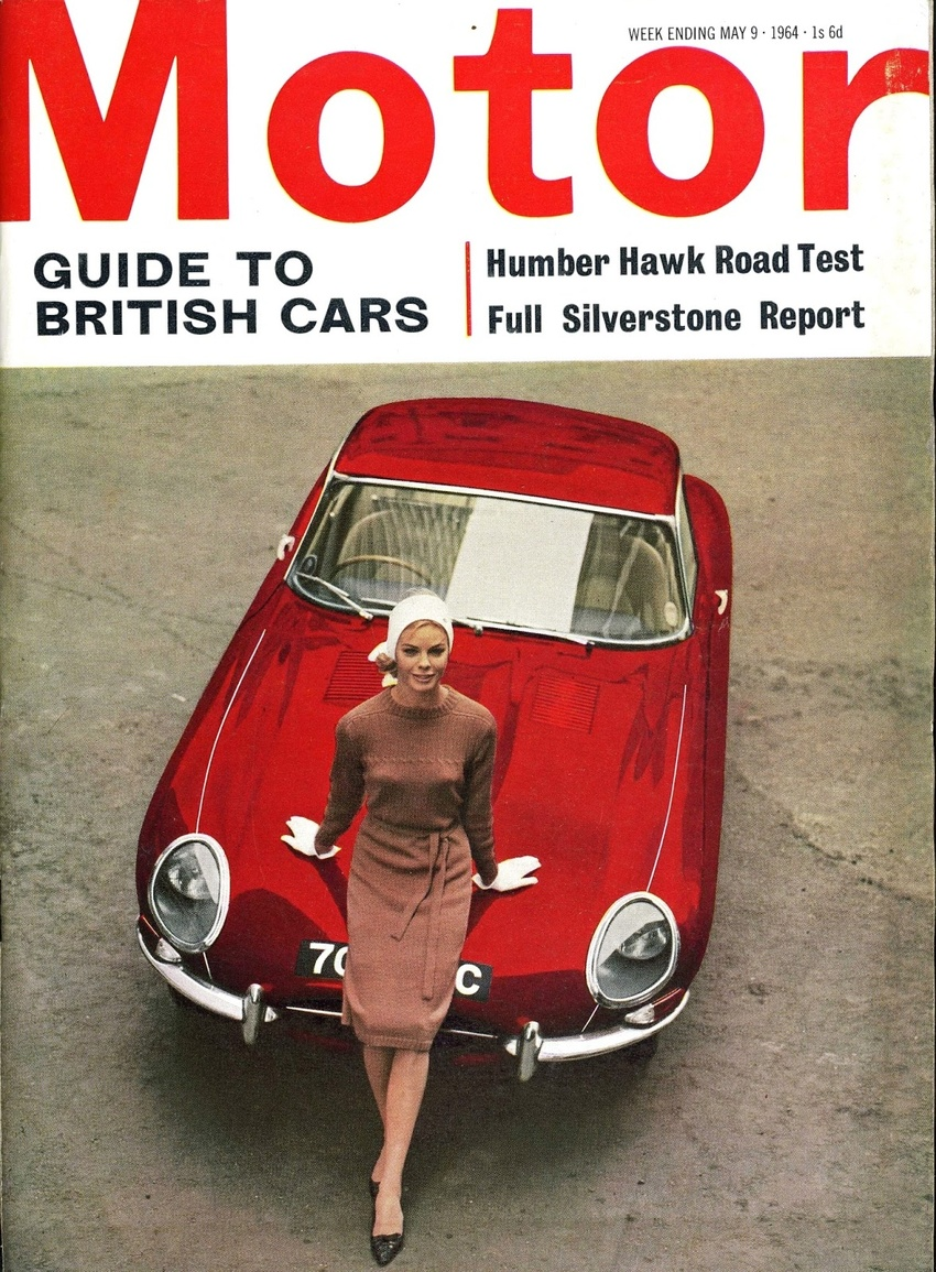 Model Bobo White, about whom I can find nothing, adds even more elegance to an E-Type Jaguar on the cover of Motor, issue dated 9 May 1964. The photographer was Marc Dimac.